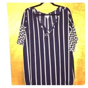 Navy and White Striped Blouse by STYLUS
